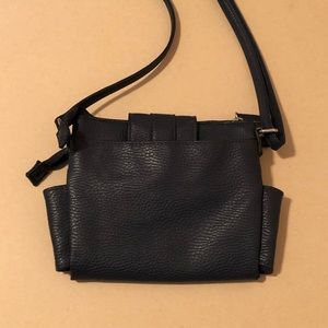 Bags - Navy Blue Faux Leather Crossbody Bag Purse